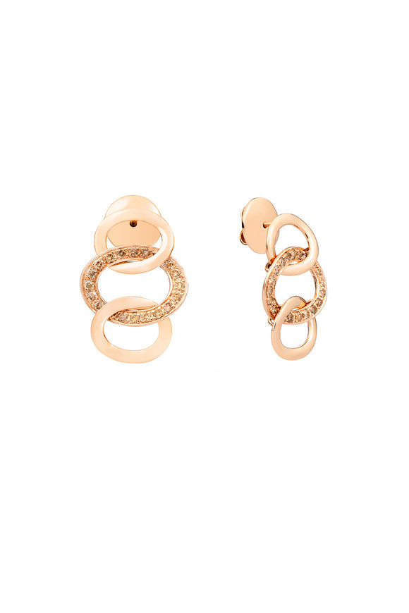Pomellato 18K Rose Gold Brera Brown Diamond Pendant Earrings