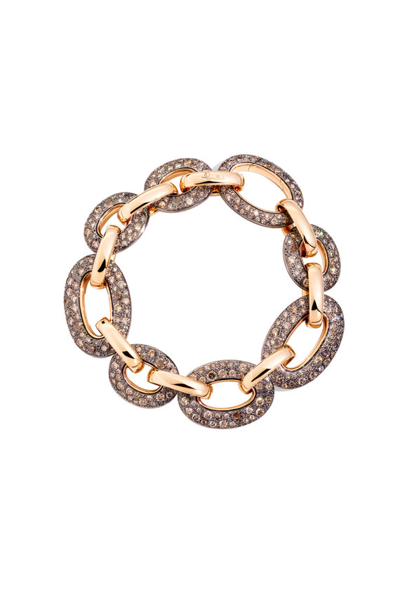 Pomellato 18K Rose Gold Tango Brown Diamond Link Bracelet