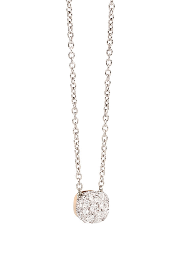 Pomellato White & Rose Gold Nudo Solitaire Pendant Necklace