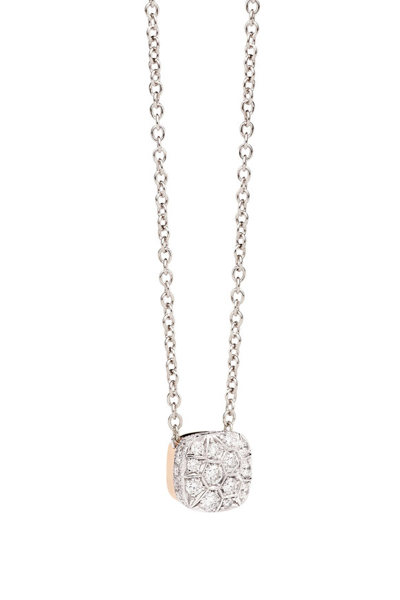 Pomellato White & Rose Gold Nudo Solitaire Diamond Necklace