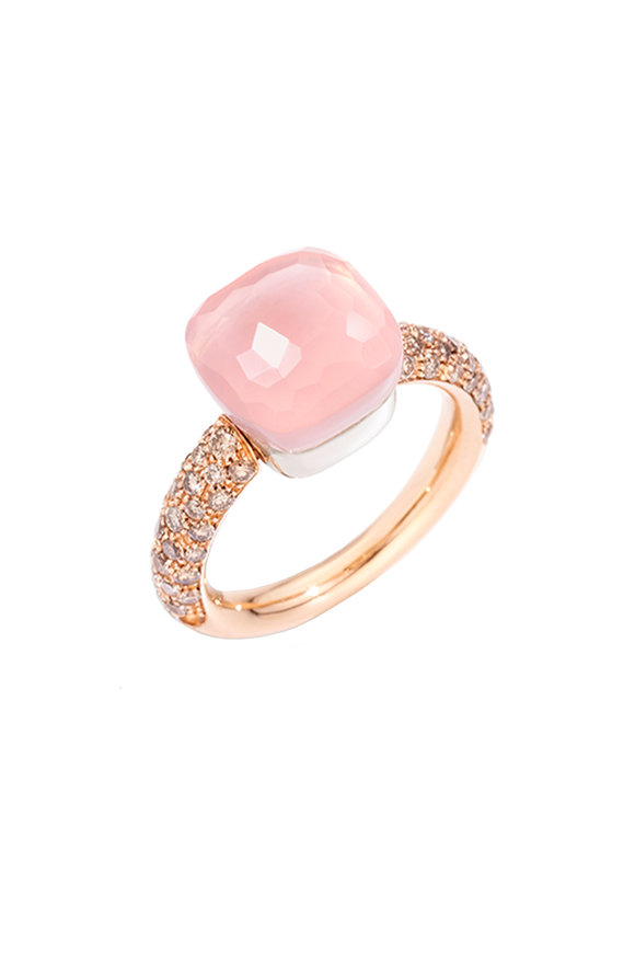 Pomellato 18K Rose Gold Classic Nudo Rose Quartz Ring