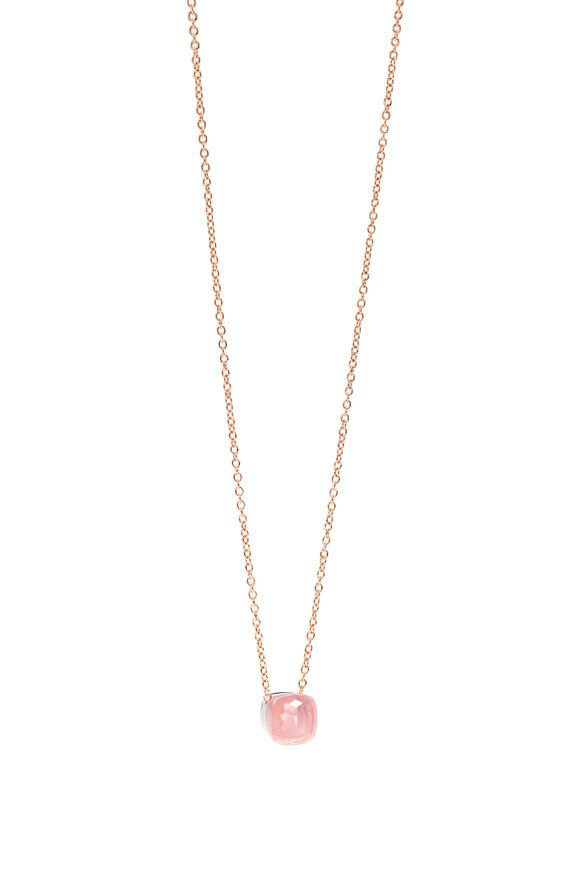 Pomellato 18K Rose Gold Nudo Rose Quartz Pendant Necklace