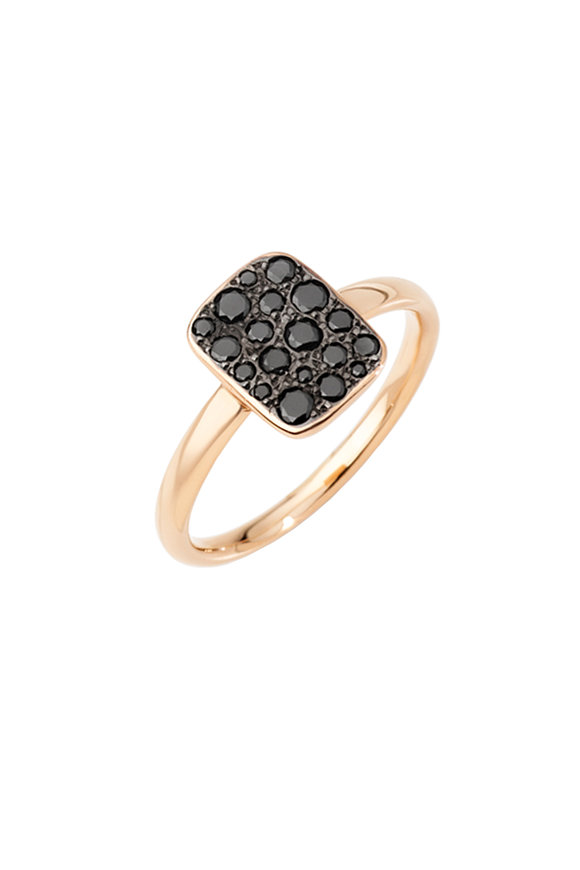 Pomellato 18K Rose Gold Sabbia Black Diamond Rectangle Ring