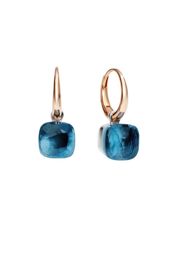 Pomellato 18K Rose Gold Nudo Blue Topaz Dangle Earrings