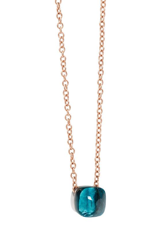 Pomellato 18K Rose Gold Nudo Blue Topaz Necklace
