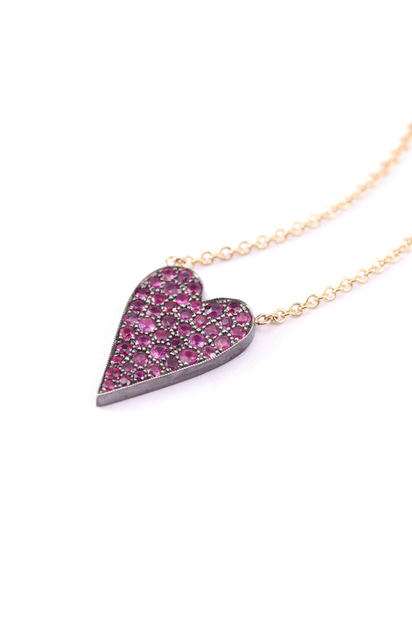 Sylva & Cie 14K Rose Gold Ten Table Ruby Heart On Chain