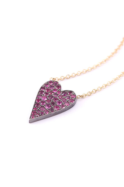 Sylva & Cie - 14K Rose Gold Ten Table Ruby Heart On Chain