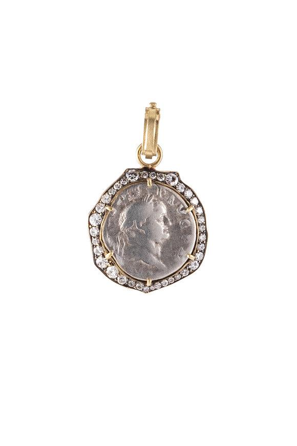 Sylva & Cie 18K Yellow Gold Roman Coin Pendant