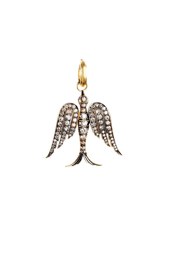 Sylva & Cie 18K Yellow Gold & Silver Diamond Bird Pendant