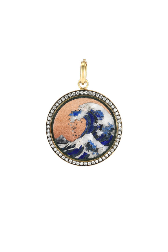 Sylva & Cie 18K Yellow Gold Hokusai Wave Pendant
