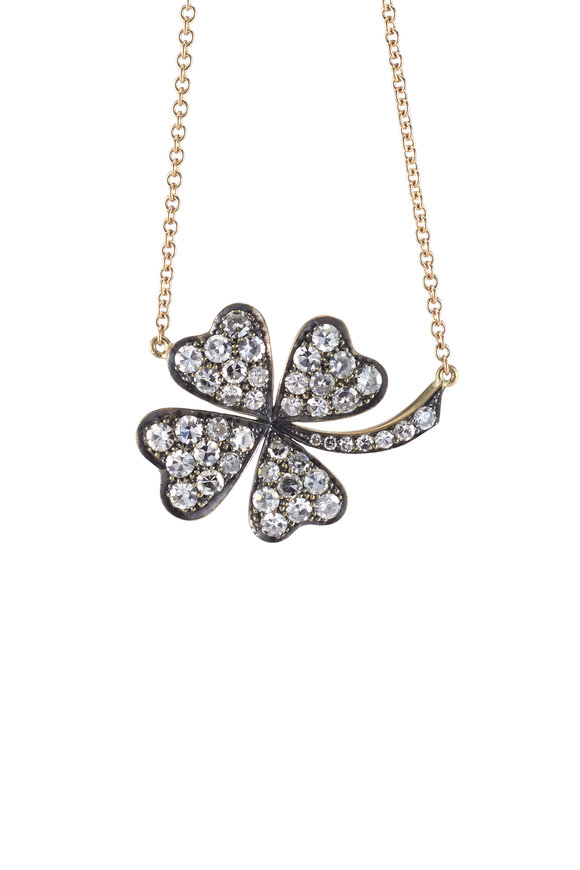Sylva & Cie 18K Yellow Gold Diamond Clover Pendant Necklace
