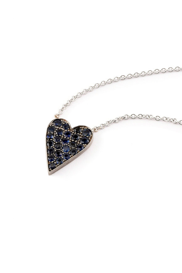 Sylva & Cie Gold & Silver Sapphire Ten Table Heart Necklace