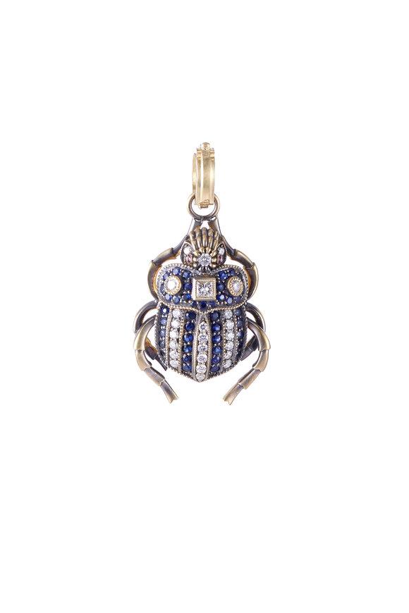 Sylva & Cie 18K White Gold Sapphire & Diamond Beetle Pendant