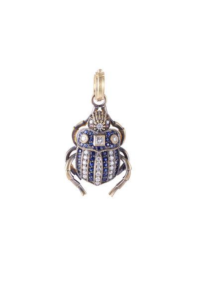 Sylva & Cie - 18K White Gold Sapphire & Diamond Beetle Pendant