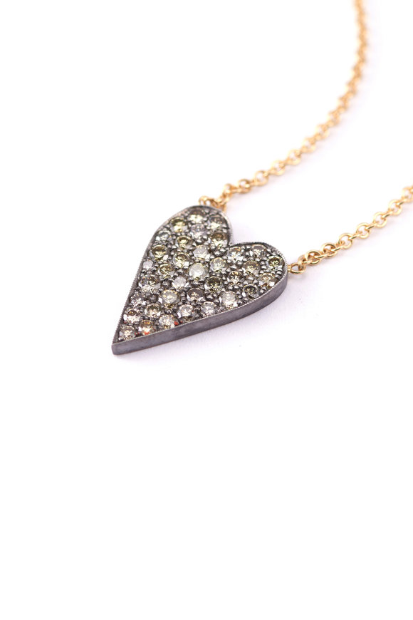 Sylva & Cie 18K Gold & Silver Champagne Diamond Heart Pendant