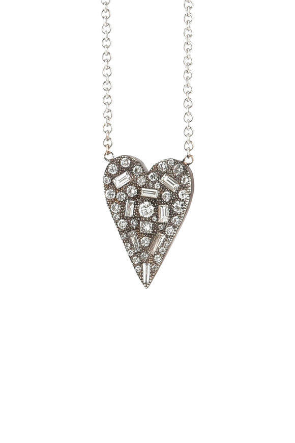 Sylva & Cie Baguette & Round Diamond Heart Necklace
