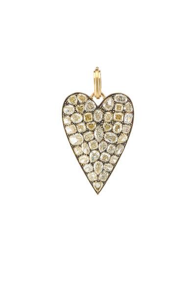 Sylva & Cie - 18K Yellow Gold Diamond Heart Pendant