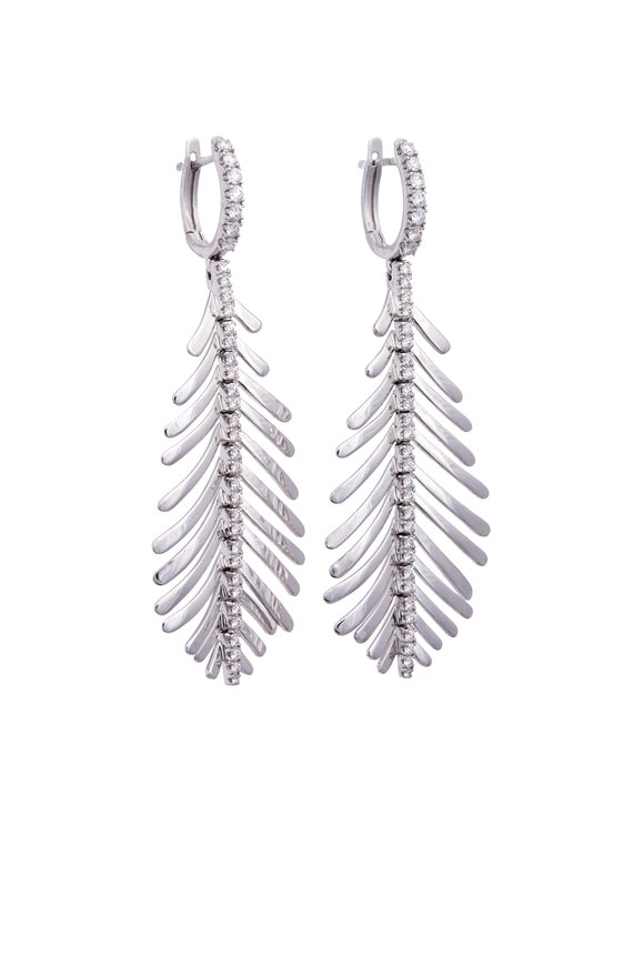 Sidney Garber 18K White Gold Diamond Plume Earrings