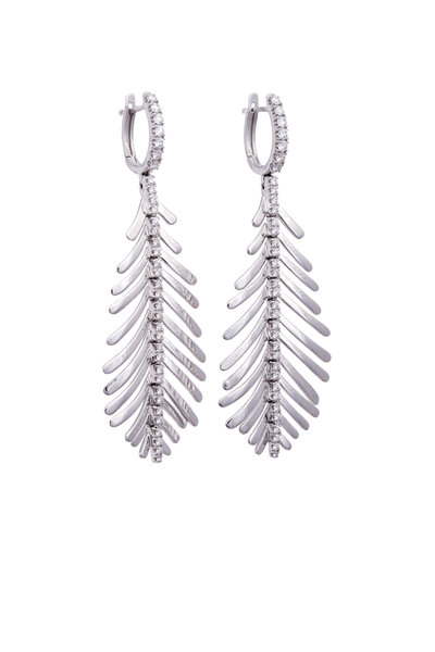 Sidney Garber - 18K White Gold Diamond Plume Earrings