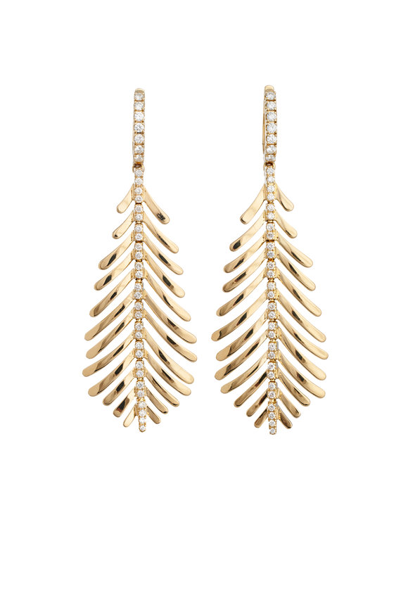 Sidney Garber 18K Yellow Gold Diamond Spine Plume Earrings