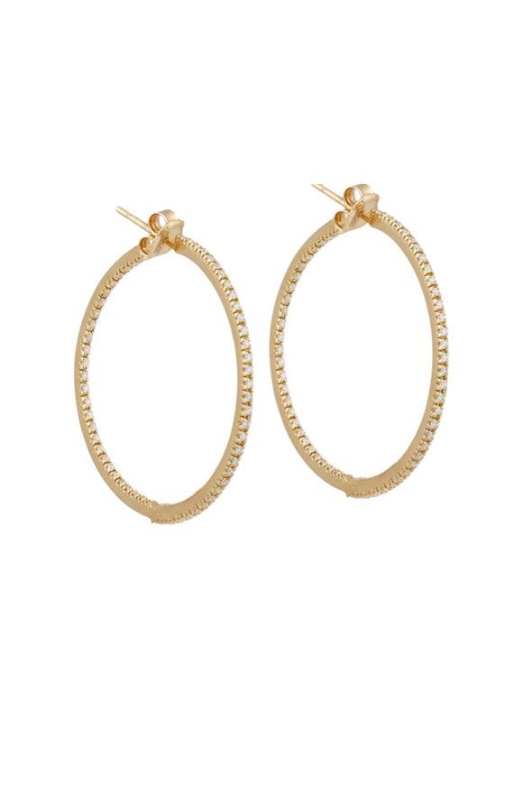 Sidney Garber 18K Yellow Gold Diamond Perfect Hoop Earrings