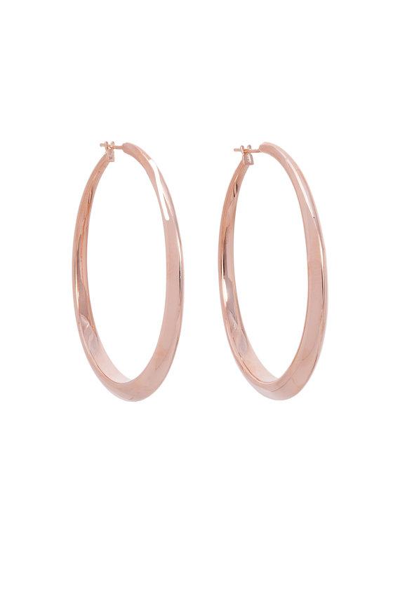 Sidney Garber 18K Rose Gold Oval Hoop Earrings