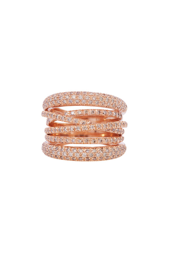 Sidney Garber 18K Rose Gold Diamond Scribble Ring