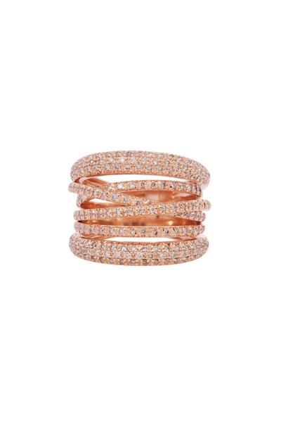 Sidney Garber - 18K Rose Gold Diamond Scribble Ring