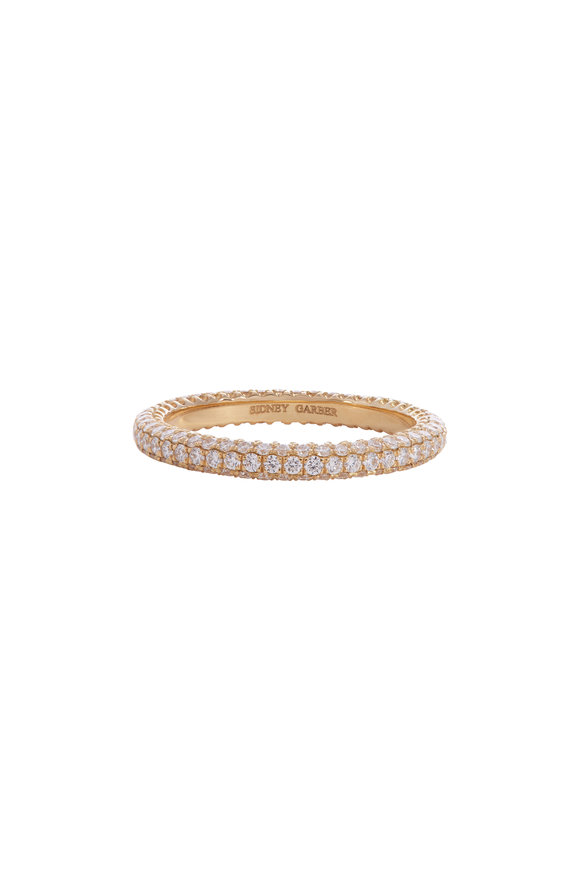 Sidney Garber 18K Yellow Gold Diamond Thread Ring