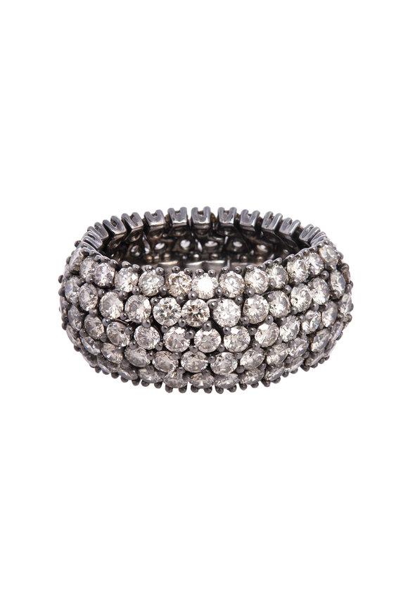 Sidney Garber 18K White Gold Cognac Diamond Flex Ring