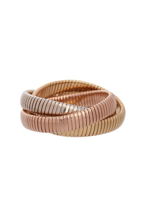 Sidney Garber 18K White, Yellow & Rose Gold Rolling Bracelet