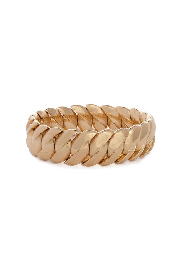 Sidney Garber 18K Yellow Gold Wave Link Bracelet