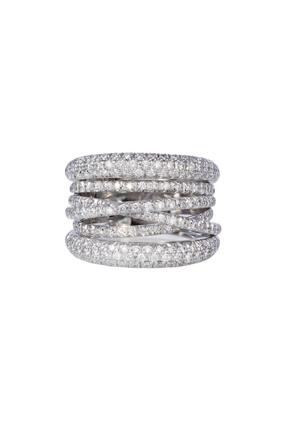 Sidney Garber 18K White Gold Scribble Diamond Band