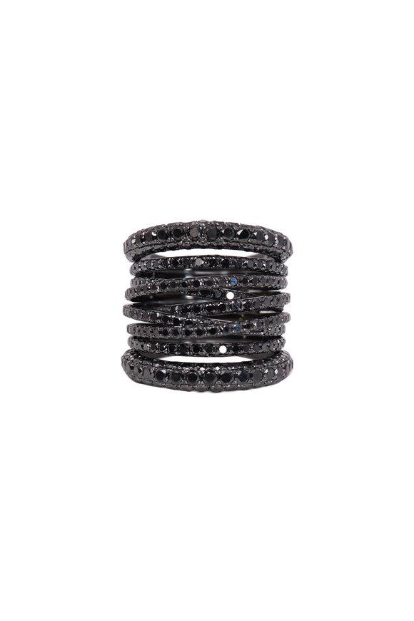Sidney Garber 18K White Gold Tall Scribble Black Diamond Ring