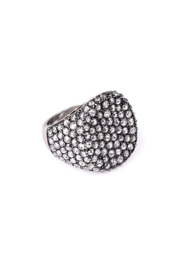 Sylva & Cie 18K White Gold Gray Diamond Ghetto Chic Ring