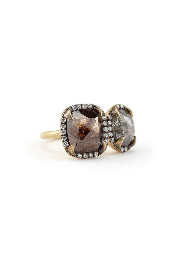 Sylva & Cie 18K Yellow Gold Rough Cut Double Diamond Ring