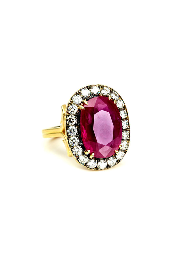 Sylva & Cie 18K Yellow Gold Ruby & Diamond Ring