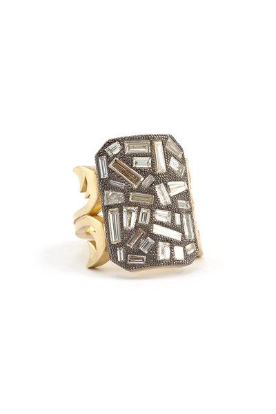 Sylva & Cie - 18K Gold & Silver Baguette Ten Table Ring