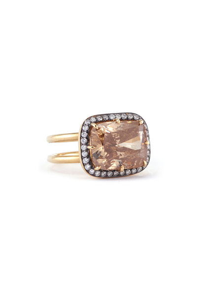 Sylva & Cie - 18K Yellow Gold Brown Diamond Double Band Ring