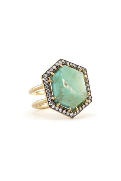 Sylva & Cie - 18K Yellow Gold Variscite & Diamond Ring
