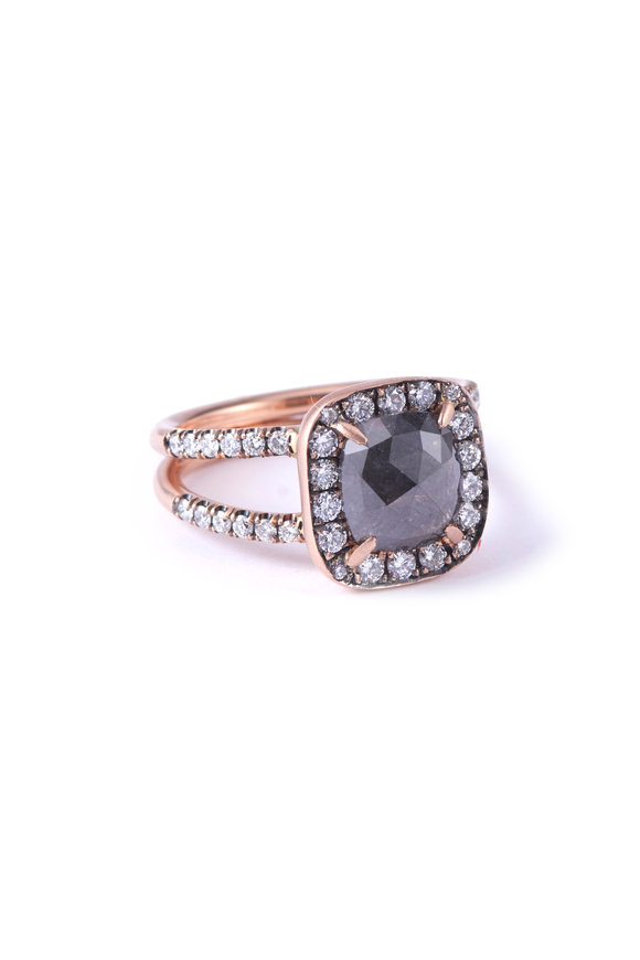 Sylva & Cie 14K Rose Gold Rough Diamond Double Band Ring