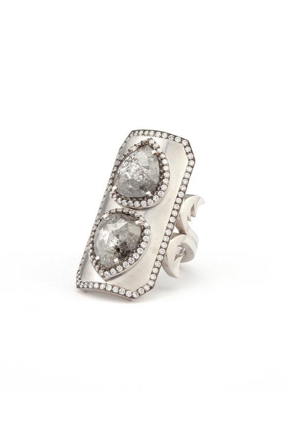 Sylva & Cie 18K White Gold Double Diamond Ten Table Ring