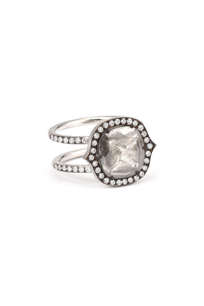 Sylva & Cie - 18K White Gold Rough Cut Diamond Cocktail Ring