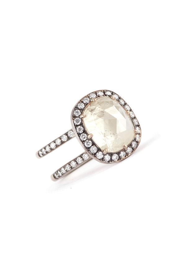 Sylva & Cie 18K White Gold Rough Cushion Cut Diamond Ring