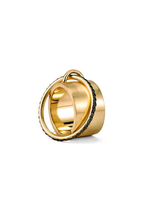 Sylva & Cie Yellow Gold Black Diamond Satellite Ring