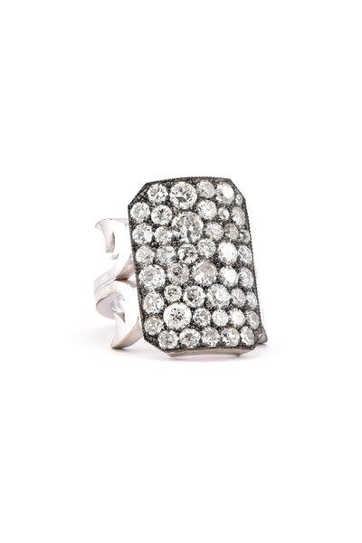 Sylva & Cie - 18K White Gold & Silver Diamond Ten Table Ring