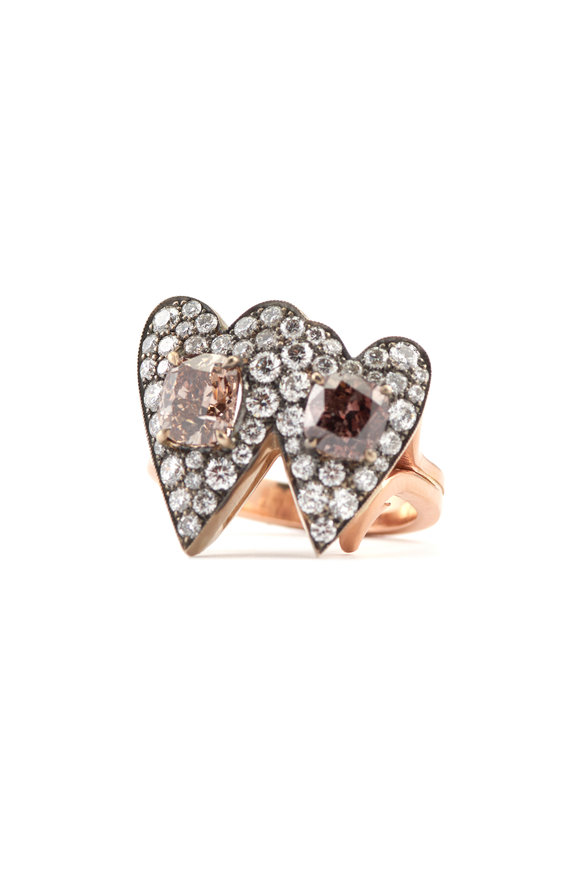 Sylva & Cie 14K Rose Gold Diamond Double Heart Ring