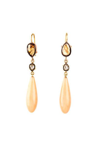 Sylva & Cie - 14K Rose Gold Eosite & Diamond Drop Earrings