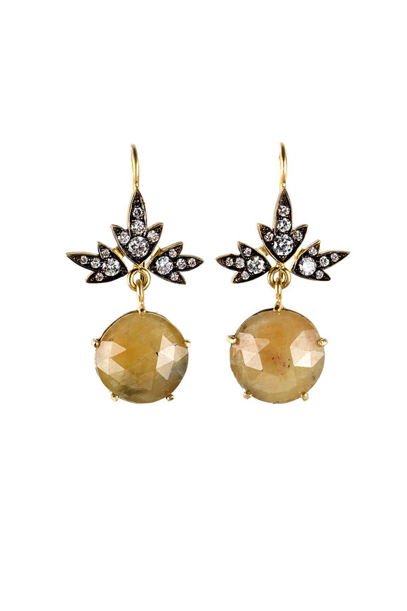 Sylva & Cie 18K Yellow Gold Sapphire & Diamond Ivy Earrings