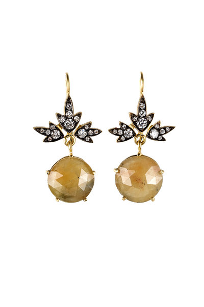 Sylva & Cie - 18K Yellow Gold Sapphire & Diamond Ivy Earrings